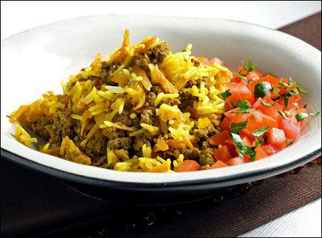 Krydret ris med kjøttdeig