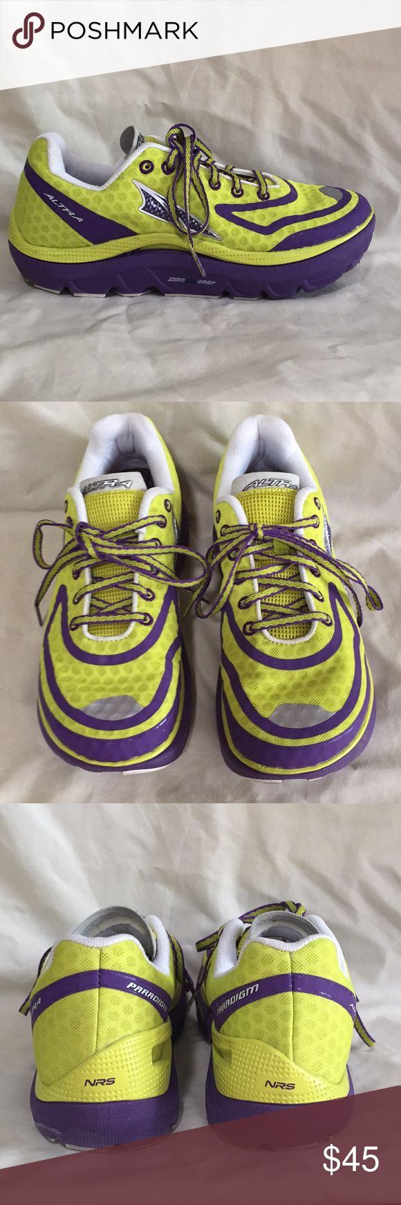 Altra Paradigm running shoes Feature Altra's 'zero-drop' platform and max cushioning in a lightweight design.  Foot-shaped toe box.  Color: sulphur/grape.  Worn once, very clean (soles show slightest wear).  Size US 7/EU 38/UK 5. Altra Shoes Athletic Shoes