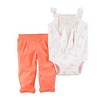 Carter's® Baby Girls' 2-Piece Floral Bodysuit And Neon Pants Set