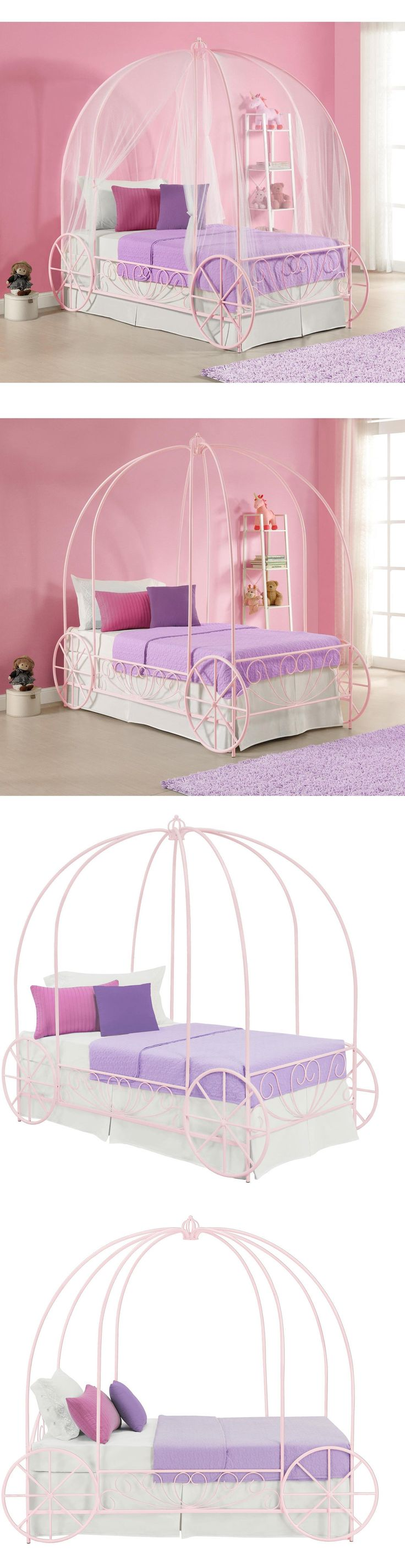 Bedroom Furniture 66742: Pink Canopy Bed Princess Carriage Twin Kids Girls Bedroom  Furniture Cinderella -
