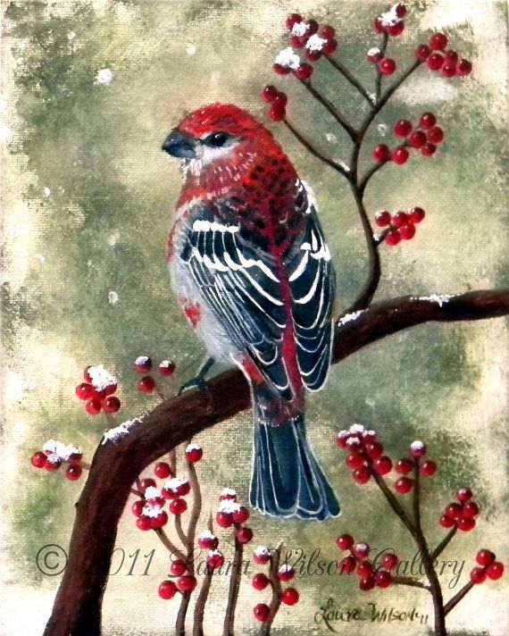 Pine Grosbeak Original Acrylic Painting on by LauraWilsonGallery, $350.00