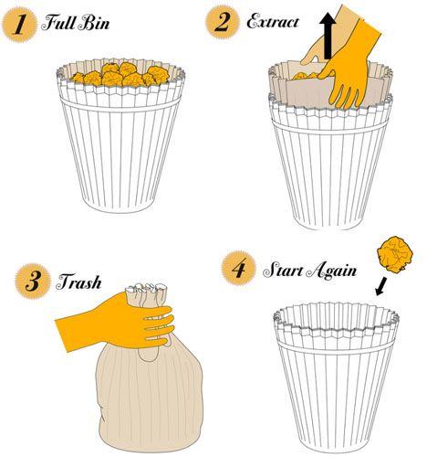 A coffee filter-esque waste paper bin