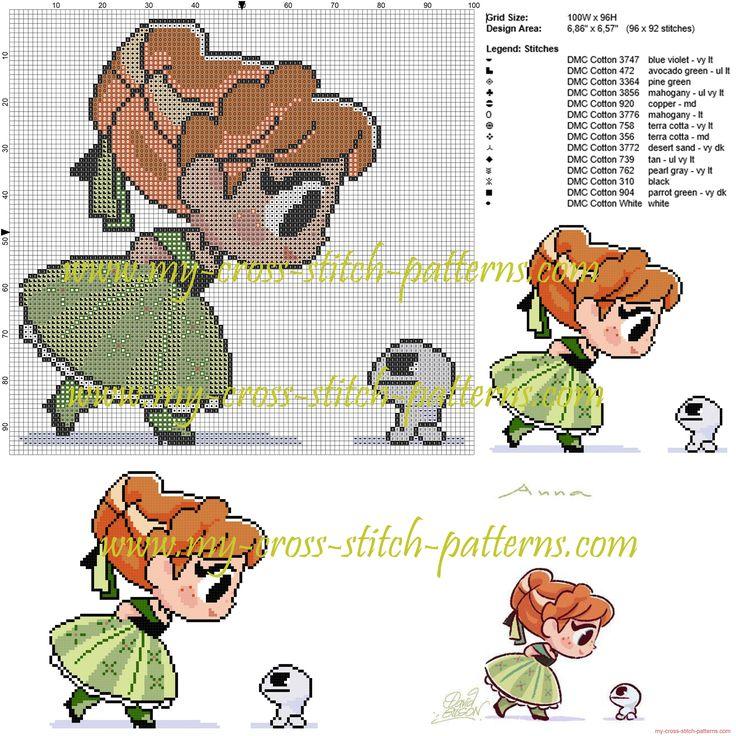 Anna chibi cross stitch pattern