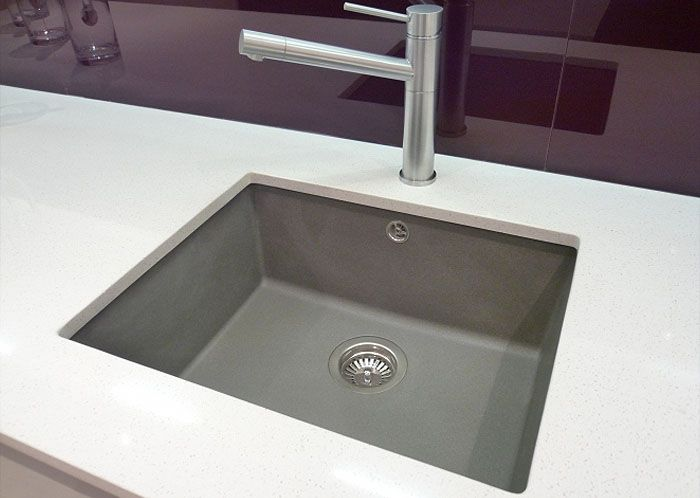 Polished square undermounted sink silgranite grey with for Grey kitchen white worktop