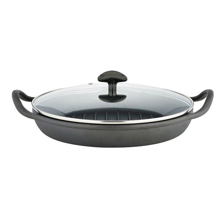 Sabatier Pre-Seasoned Cast-Iron Rust-Resistant Round Grill Pan, Black