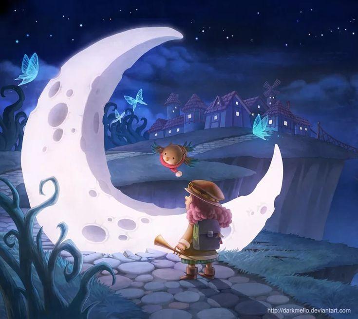 Сказочные картинки ночь луна месяц, днем рождения