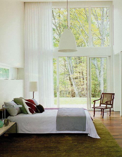 high ceiling modern bedroom