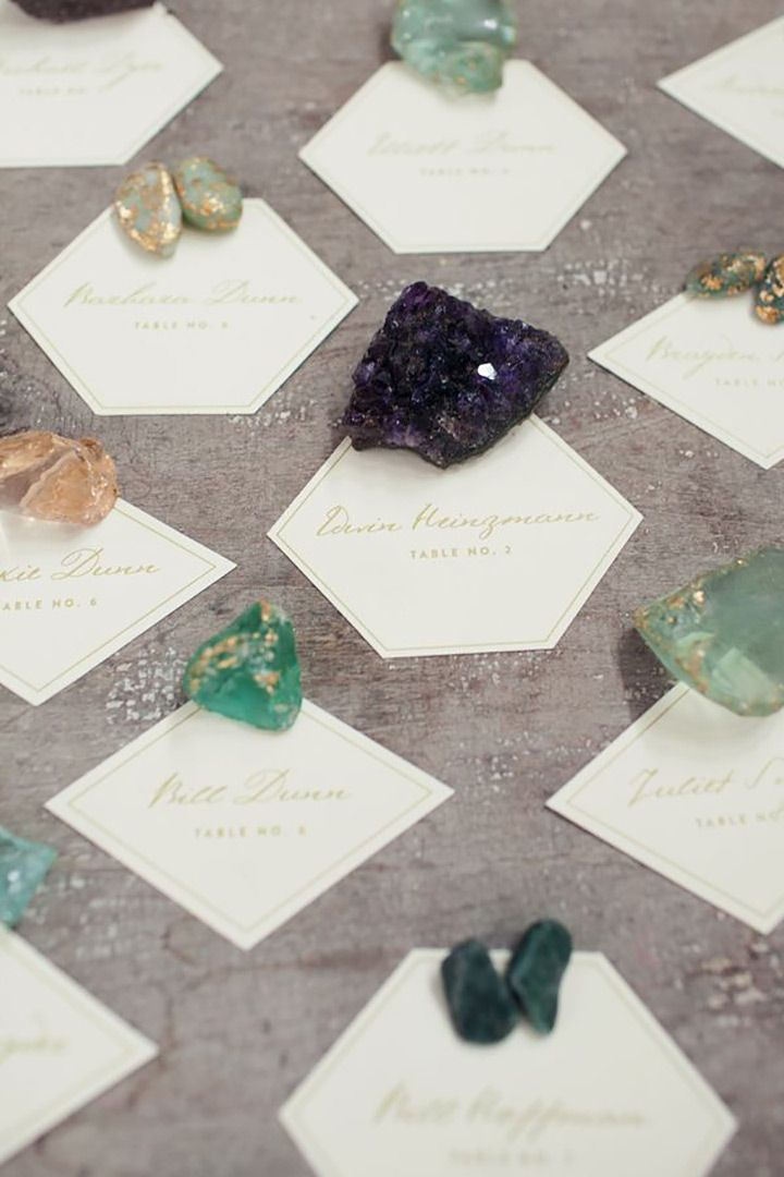 Geode wedding escort cards ~  we ❤ this! moncheribridals.com