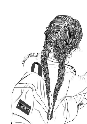 art, backpack, bag, black, doodles, drawing, fashion, grunge, hair, heartit, indie, outline, outlines, plaits, rad, school, style, white, First Set on Favim.com
