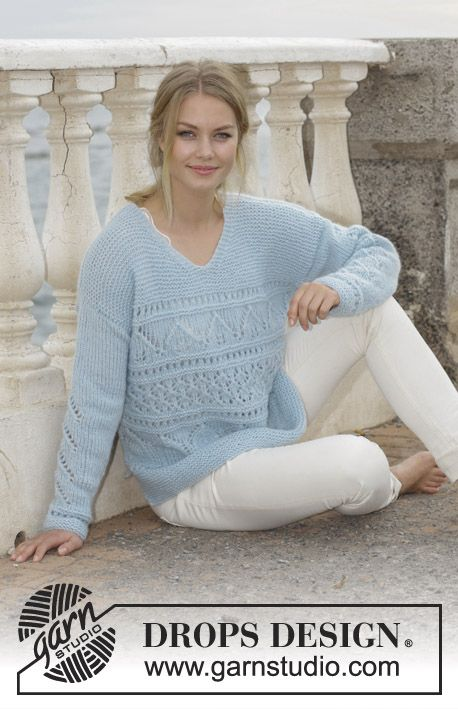 Knitted jumper with lace pattern, garter stitch, V-neck and split in sides. Sizes S - XXXL. The piece is worked in DROPS Air.