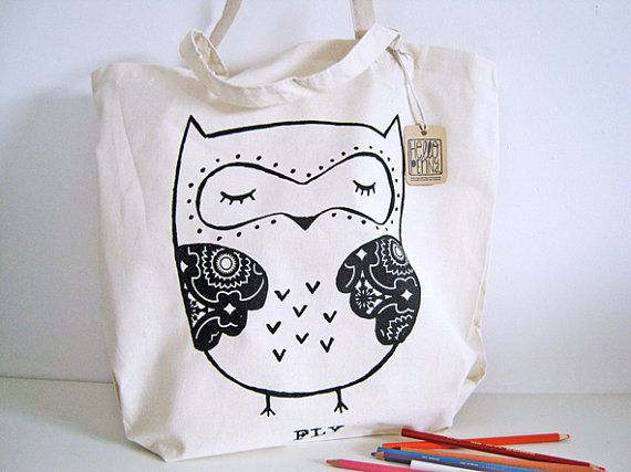 Tote Bag  Cute Owl by hellopenny on Etsy, $12.00