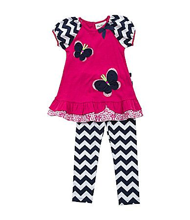 Rare Editions 2T6X ButterflyAppliqued Dress and ChevronStriped Leggings Set #Dillards
