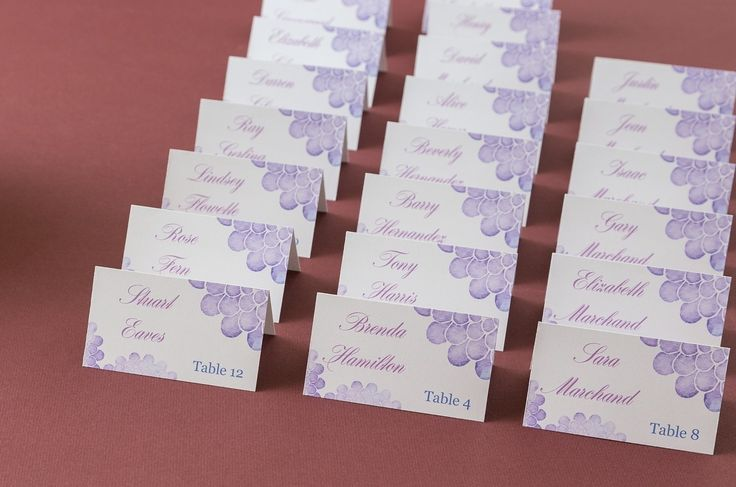 These pretty purple place cards are so easy to do yourself These - table tent template