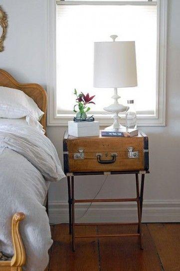 Comodino vintage - Fissate una struttura in legno o alluminio ad una valigia per arredare la camera da letto in stile vintage
