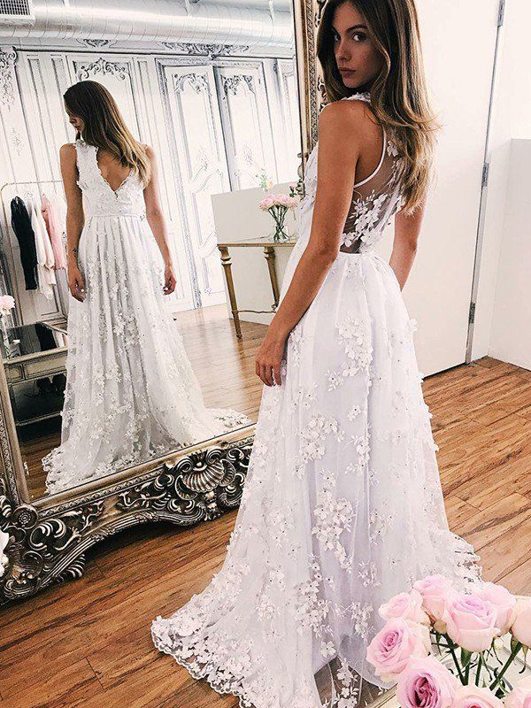 A Line V Neck Sleeveless Lace Wedding Dress White Ivory Formal Gowns for Bride