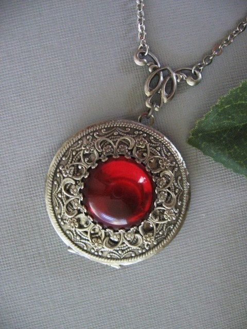 Ruby Filigree LOCKET Antiqued Locket Silver by CharmedValley, $29.00