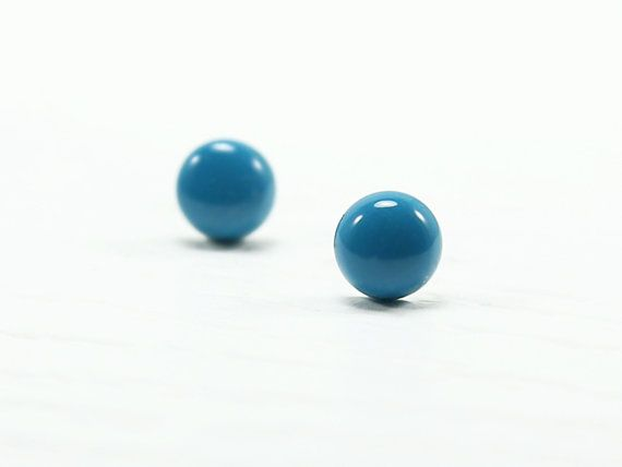 Turquoise Blue Stud Earrings 8mm  Turquoise Small Stud by biesge, $13.90