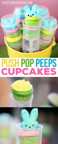 Push Pop Peeps Cupcakes For Easter. Such cute cupcakes and really easy to make.  Saw these push pop containers at Target, totally making these!