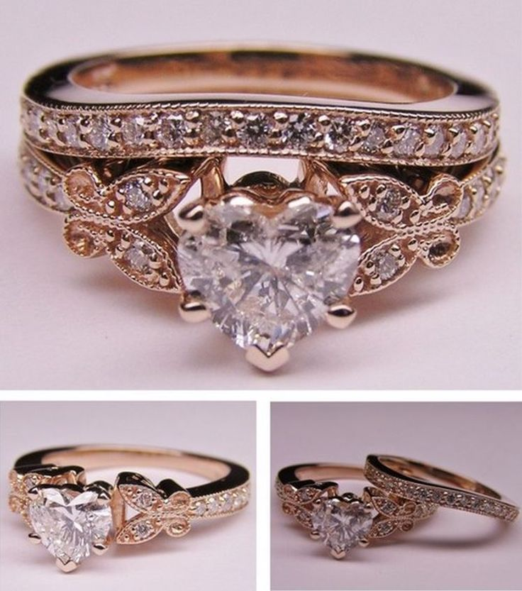 heart shape diamond butterfly vintage engagement ring setting matching wedding band 037 tcw in - Wedding Rings Pinterest