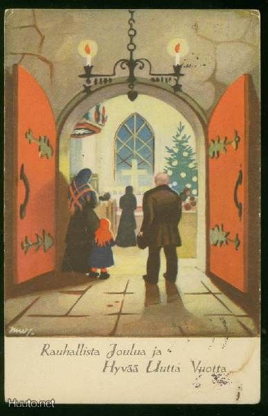 Vintage Swedish Christmas Card by Martta Wendelin ~ Deep Orange Doors