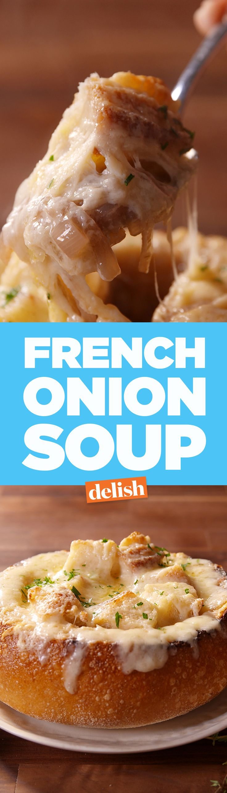 Our French Onion Soup in a bread bowl will save you a trip to Panera Bread. Get the recipe on Delish.com.