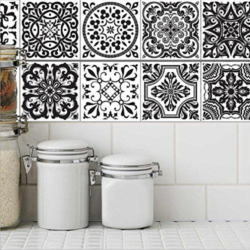 Stickers muraux carreaux en – PVC adhésif sticker feuille pour carreaux salle de bain et crédence cuisine | Revêtement mural adhesif –…