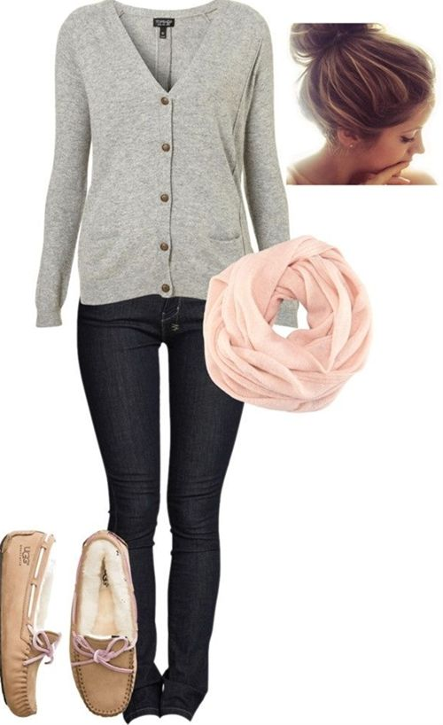 Cute, cozy fall outfit...I like this, all but the shoes.  How about boots instead.