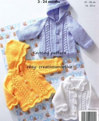 (435) 3-24M Baby/Boys & Girls Cable Jackets, Collar/ Hood, Aran Knitting Pattern | eBay