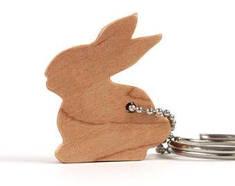Sitting Bunny Rabbit Key Chain, Wood Scroll Saw Outline Keychain, Woodland Animal Key Ring, Rabbit Key Fob, Maple