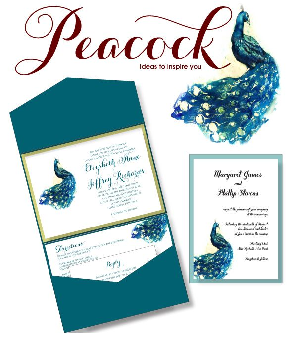 peacock wedding invitations by Renaissance Writings