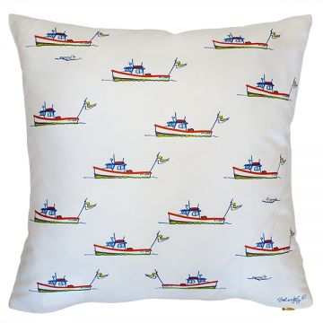 Traditional Maine theme: lobster boats in a new fun pattern on a stylish white background. Order now: http://troskodesign.com/shop/throw-pillow-lobster-boat-in-white-made-in-usa/