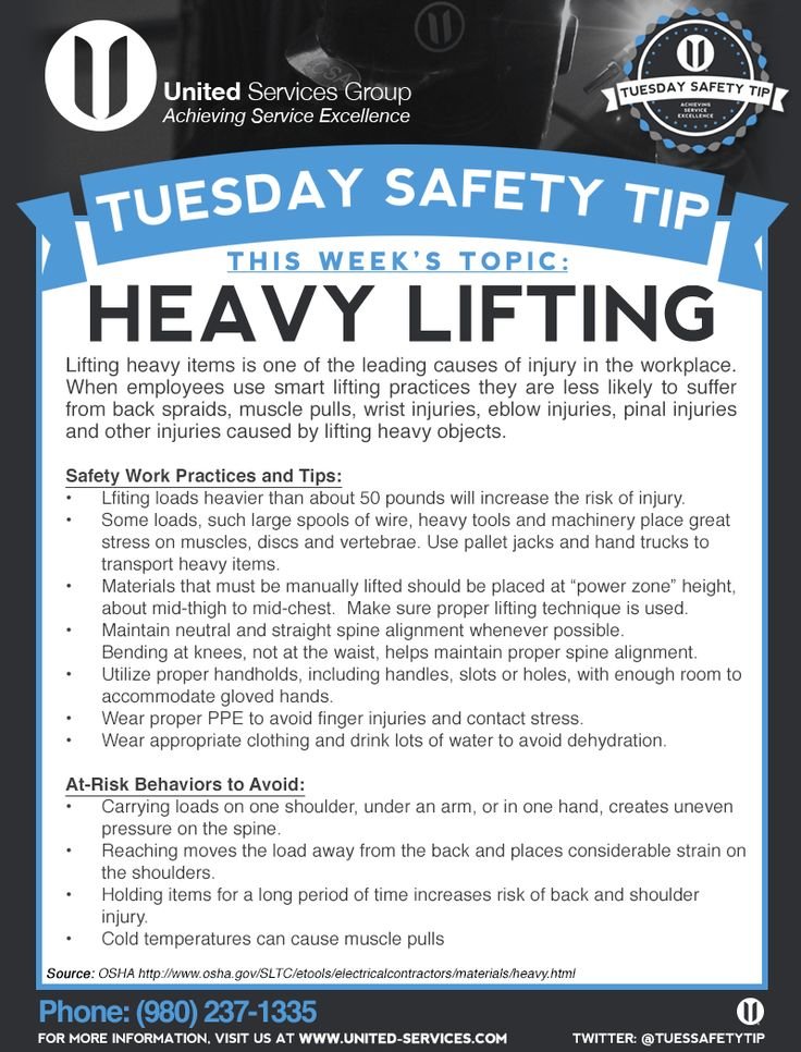 This week's Tuesday Safety Tip is about the Heavy Lifting.  United Services is dedicated making safety information available to our employees and customers to further emphasize our safety culture. The credit for this week's safety information was provided by OSHA.  #safety #safetytips #osha #tuesdaysafetytip
