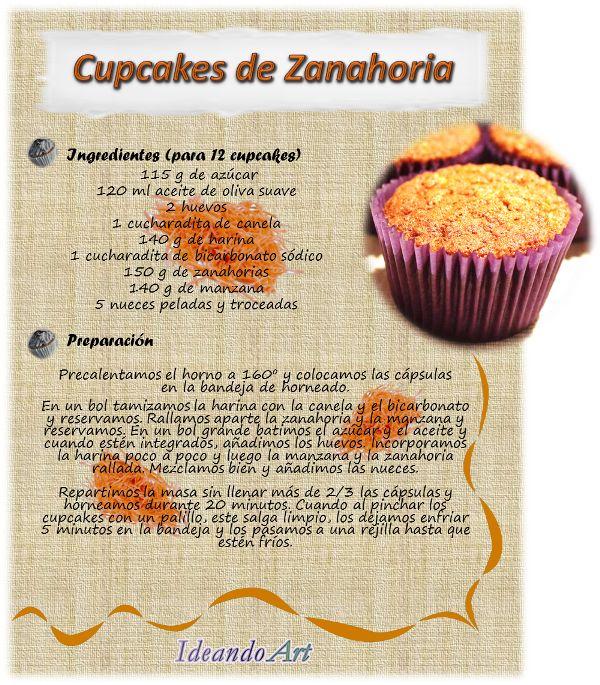 Riquísima receta de cupcakes de zanahoria by IdeandoArt