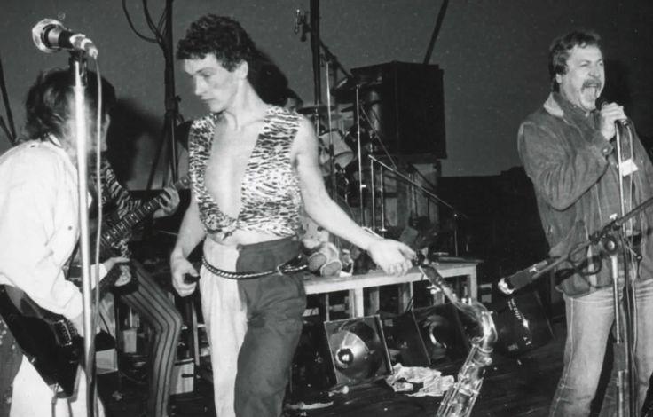 Andrzej Mogielnicki na scenie z zespołem Lady Pank (fot. archiwum prywatne)