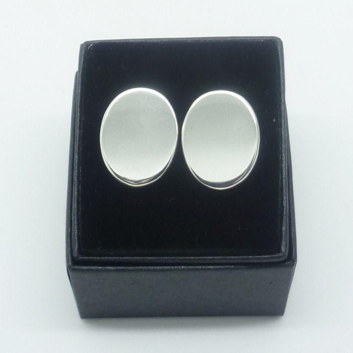 Plain Oval Cufflinks - Sterling Silver  http://www.hilaryandjune.com/product/plain-oval-cufflinks-sterling-silver