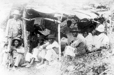 Afro-Cuban troops in a makeshift encampment 1898 Cuba from the story Cuban Independence Day and Foodways with Recipes