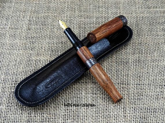 Fountain pen wood and copper with leather case by WDFOUNTAINPEN