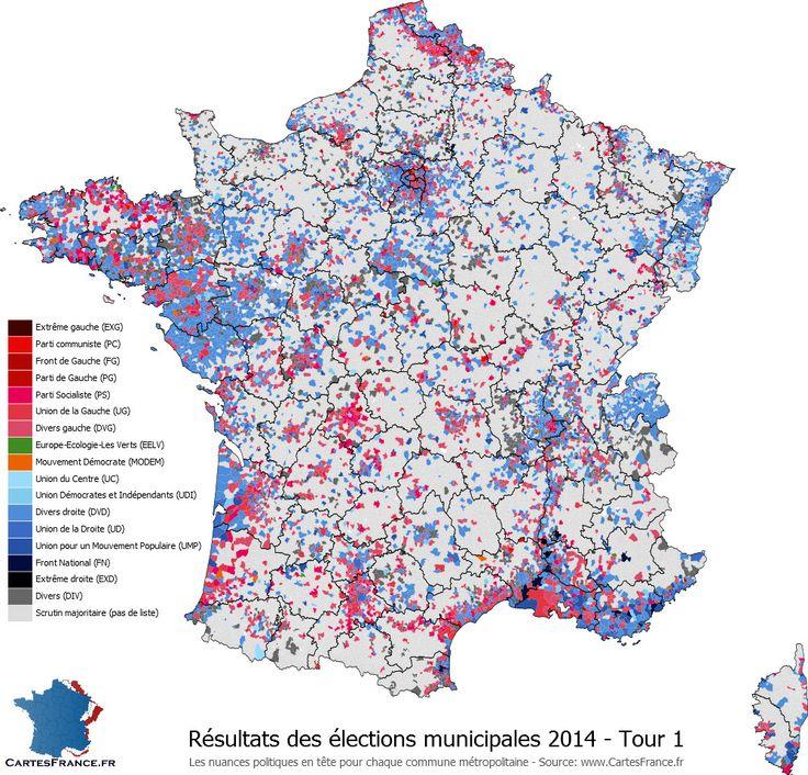 Carte des résultats du premier tour des élections municipales 2014
