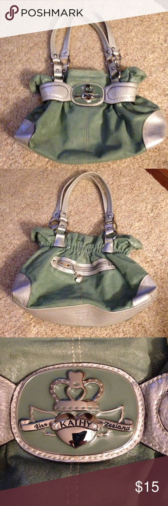 """Kathy Van Zeeland purse Green and silver  Kathy Van Zeeland purse.  Measures 14""""x 10"""".  Purse is in good condition.  There are a few marks on the inside bottom. Kathy Van Zeeland Bags Shoulder Bags"""