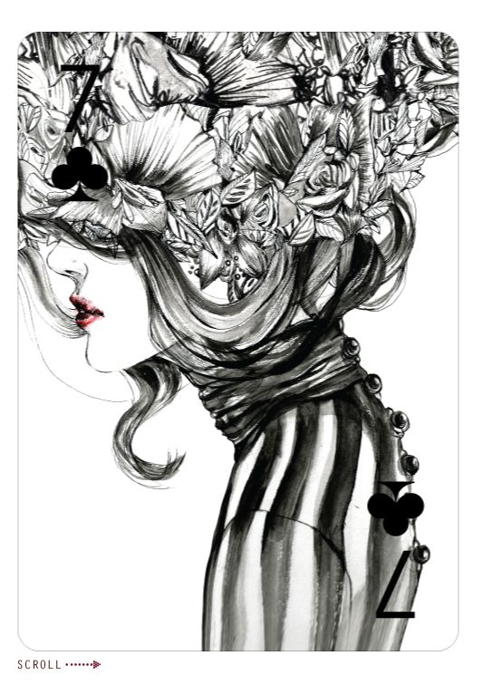 Seven Of Clubs, Fashion Playing Cards by Connie Lim