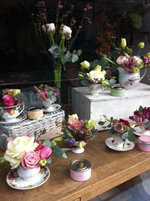 mothers day display windows | All the tea cup arrangements are for sale, so if you fancy treating ...