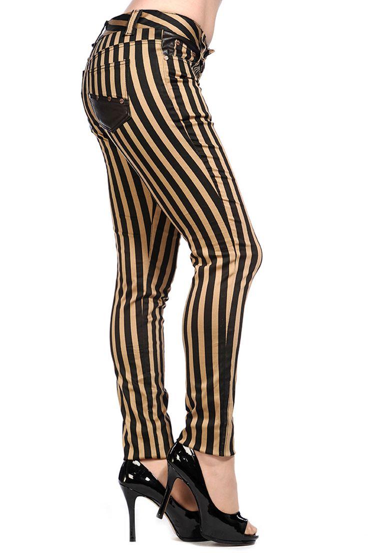Banned Punk Goth Steampunk Brown & Black Striped Skinny Jeans
