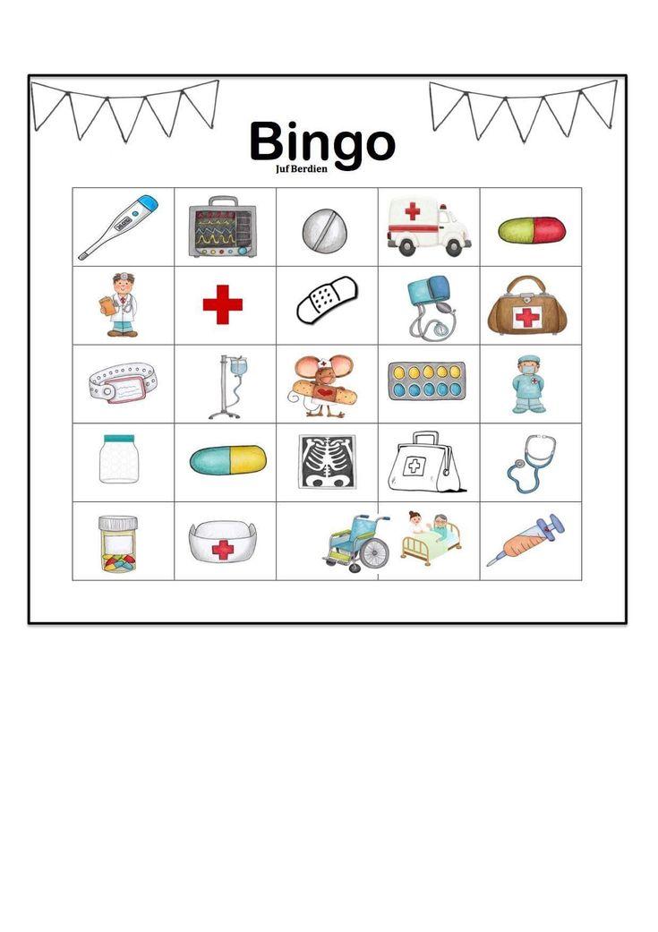 Juf Berdien thema ziek zijn bingo spel kleuters klas Preschool