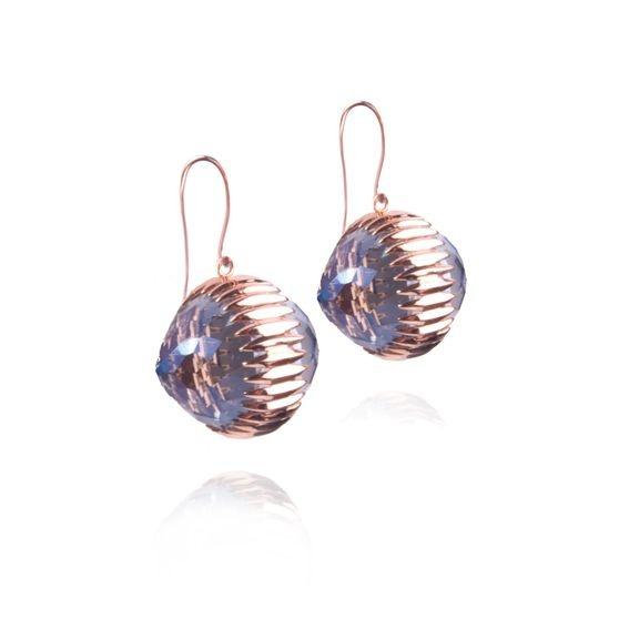 Orb Earrings in Mystic Blue Quartz