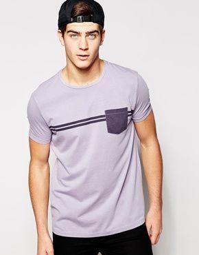 Camiseta de corte skater holgado con rayas y bolsillo en contraste de ASOS
