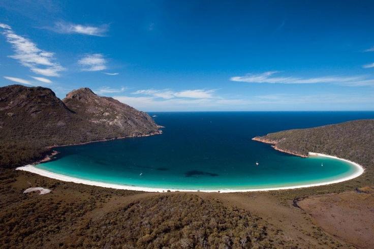 Wineglass Bay in Freycinet National Park of Tasmania Australia