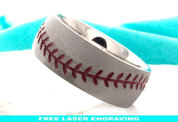 Titanium Wedding Ring, Baseball Ring, Sport Ring, Mens Baseball Ring,Baseball Band with Red Enamel Stitches  TITANIUM  If you are looking for a