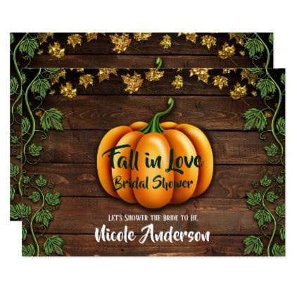 Fall Pumpkin Rustic Green Gold Ivy Bridal Shower Card - Halloween happyhalloween festival party holiday