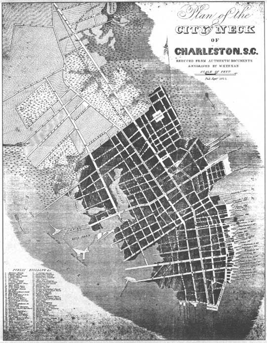 plan of the city neck of charleston w keenan 1844 instrument navigation environmental. Black Bedroom Furniture Sets. Home Design Ideas