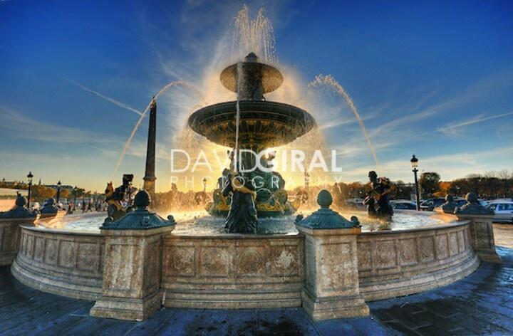 Sunset Place de La Concorde Fountain Paris..